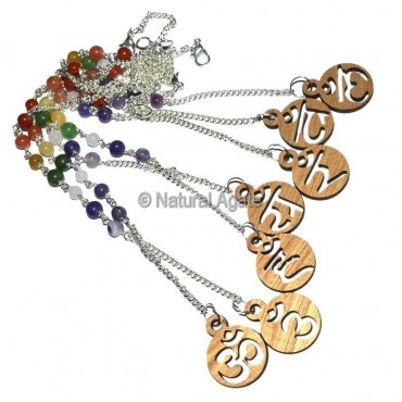 7 Chakra Symbols Pendulum Chain And Bracelet