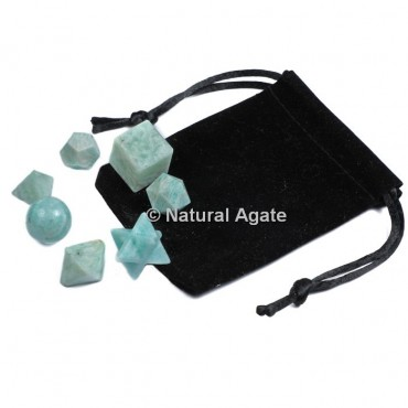 Amazonite 7 Pcs Sacred Geometry Set With Gift Pouch