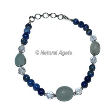 Crystal Quartz-Lapis Lazuli With Tumble Stone