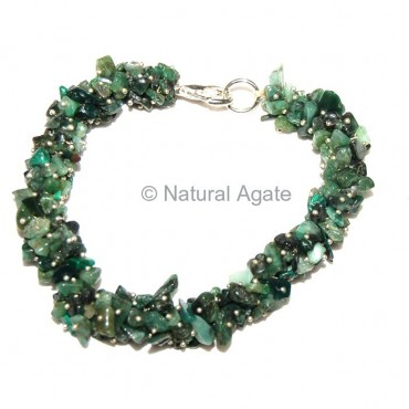 Green Jade Hande Made Chips Bracelets