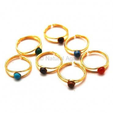 Chakra Gemstone Metal Ring Set