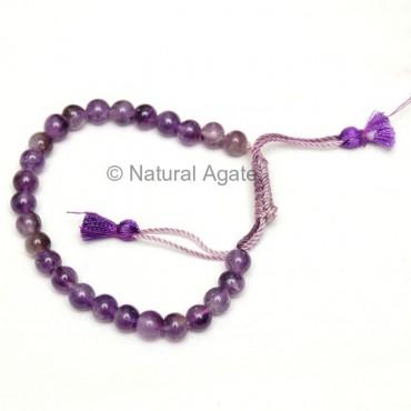 Amethyst Round Beads Drawstring Bracelet