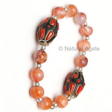 Red Carnelian Beads Bracelet