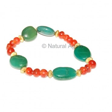 Green Onyx And Red Carnelian Bracelet