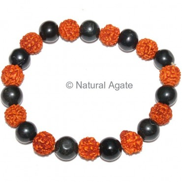 Black Agate With Rudraksha Beads Bracelet