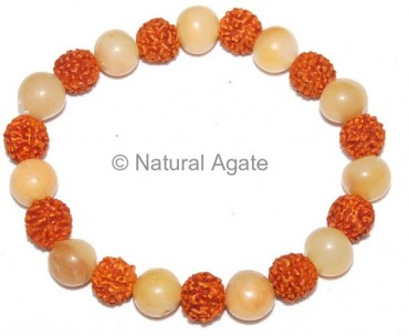 Golden Quartz With Rundraksha Bracelet