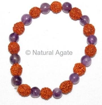 Amethyst And Rudraksha Beads Bracelets