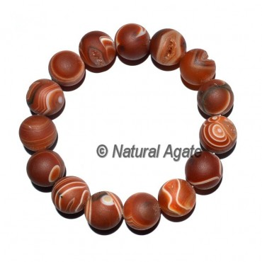 Red Agate Druzy Round Bracelets