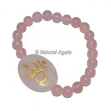 Om Rose Quartz Bracelets