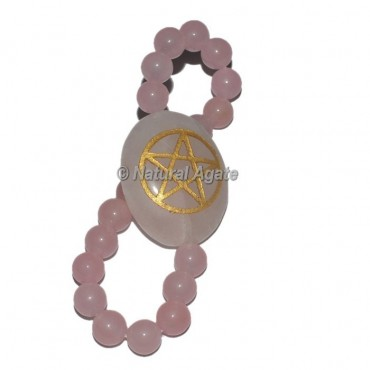 Rose Quartz Engraved Pentagram Star Bracelets