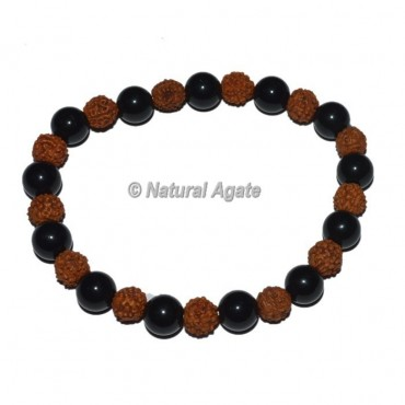 Rudraksha With Black Obsidian Bracelets