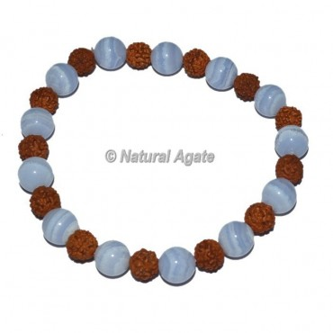 Blue Agate with Rudraksha Bracelets