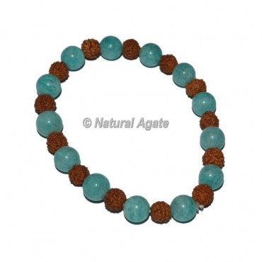 Amazonite with Rudraksha Bracelets