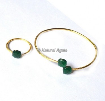 Green Onyx Bracelets With Ring
