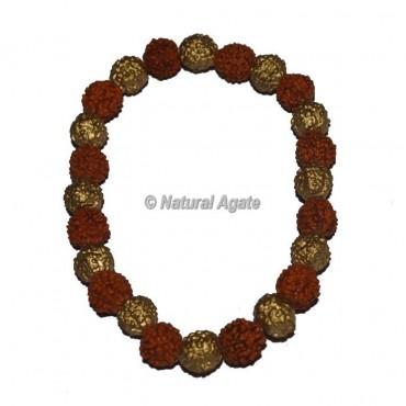Rudraksha With Brass Beads Bracelets