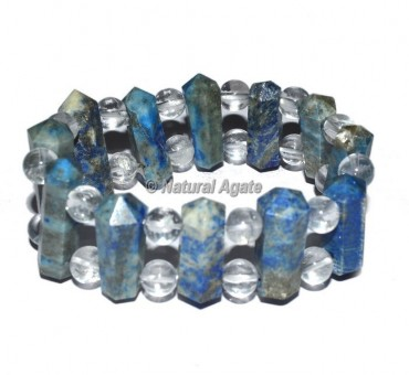 Lapis Lazuli Points With Crystal Beads Bracelets