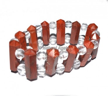 Red Jasper Pencil Point With Crystal Beads Bracelets