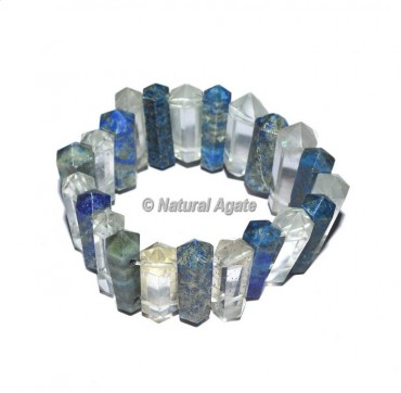 Lapis Lazuli And Crystal Quartz Pencil Bracelets