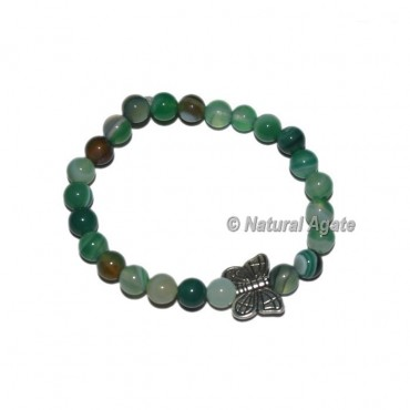 Green Banded Onyx Bracelets With Butter Fly