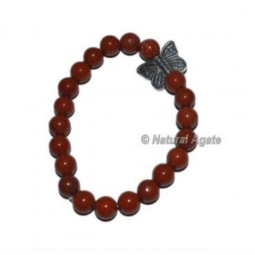 Red Jasper Gemstone Bracelets with Butterfly