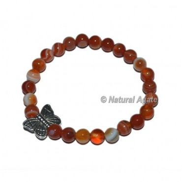 Red Carnelian Gemstone Bracelets with Butterfly