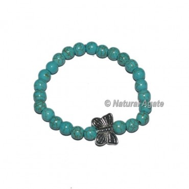 Turquoise Gemstone Bracelets with Butterfly
