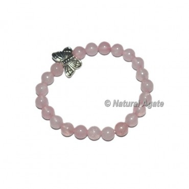 Rose Quartz Gemstone Bracelets with Butterfly