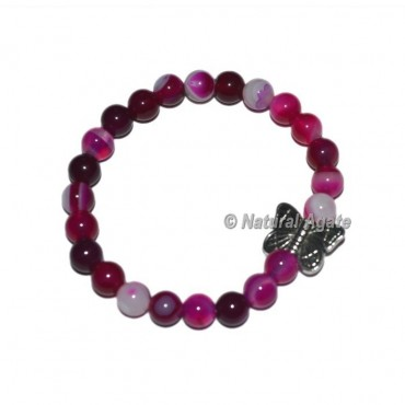 Pink Onyx Gemstone Bracelets with Butterfly