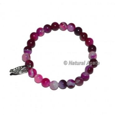Pink Onyx Gemstone Bracelets with Owl