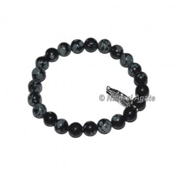 Snowflake Obsidian Gemstone Bracelets with Owl