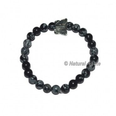 Snowflake Obsidian Gemstone Bracelets with Butterfly