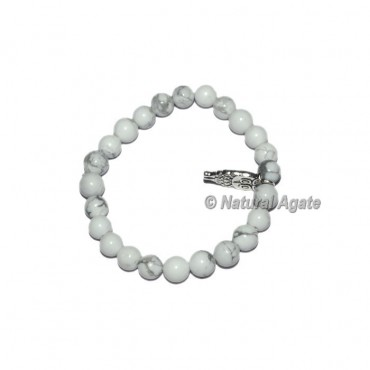 White Howlite Gemstone Bracelets with owl