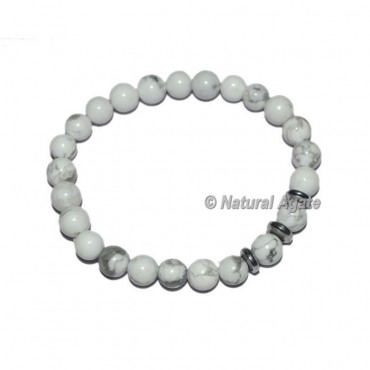 White Howlite Gemstone Bracelets