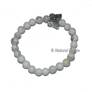 White Howlite Gemstone Bracelets with Butterfly