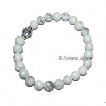White Howlite Gemstone Bracelets with Chokoreiki