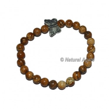 Picture Jasper Gemstone Bracelets with Butterfly