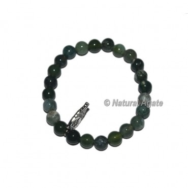 Moss Agate Gemstone Bracelets with Owl