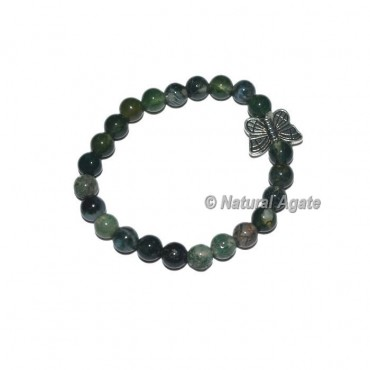 Moss Agate Gemstone Bracelets with Butterfly