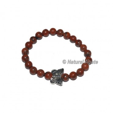 Indian Jasper Gemstone Bracelets with Butterfly