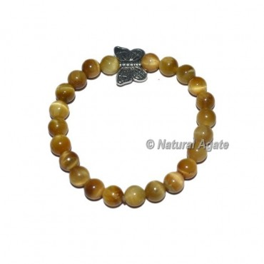 Lemon Tiger Gemstone Bracelets with Butterfly