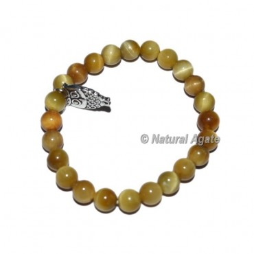 Lemon Tiger Gemstone Bracelets with Owl