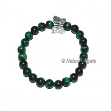 Green Tiger Gemstone Bracelets with Owl