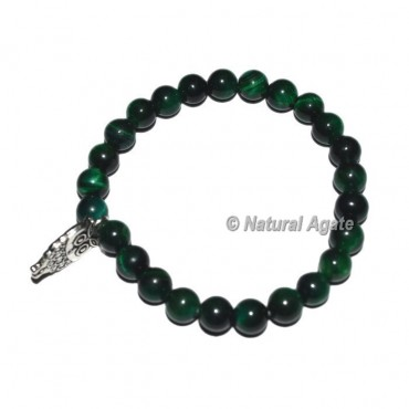 Green Tiger Gemstone Bracelets with Owl Charm