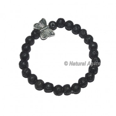 Lava Stone Gemstone Bracelets with Butterfly