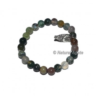 Fancy Agate Gemstone Bracelets with Owl