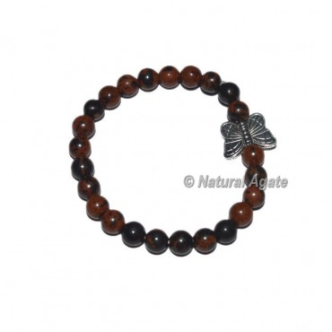 Mahagoni obsidian Gemstone Bracelets with Butterfly
