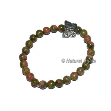 Unakite Gemstone Bracelet with Butterfly