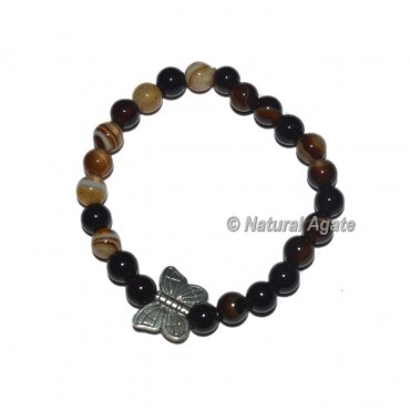 Black Onyx Gemstone Bracelets with Butterfly
