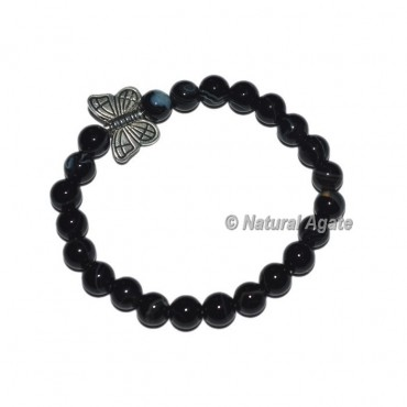 Pure Black Onyx Gemstone Bracelets With Butterfly