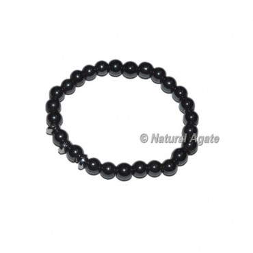 Black Onyx With Round Charm Gemstone Bracelets